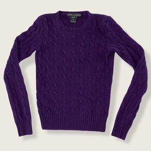 Ralph Lauren Cashmere Sweater Cable Knit Purple S